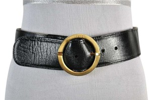 Fendi Fendi Two Sided Leather and Canvas Logo Print Belt Gold Tone Buckle