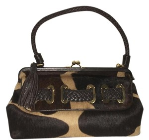 Adrienne Vittadini Leather Fur Satchel in Brown