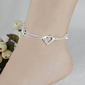 Rhinestones And Silver Tone Foot Ankle Jewelry Barefoot Sandals Foot And Ankle Bracelet Bridal Wedding Ankle Foot 2016