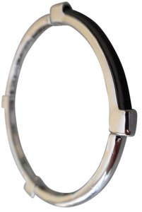 Chico's NEW Chico's CHARNA Stretch Bangle Bracelet Black Leather Silvertone