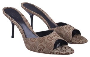 Gucci Morsetto Jacquard Fabric Logo Horsebit brown Sandals