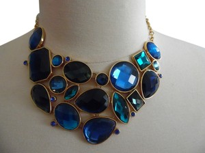 Joan Rivers Joan Rivers Shades of Blue Couture Faceted Crystal Adjustable Bib Necklace with 3