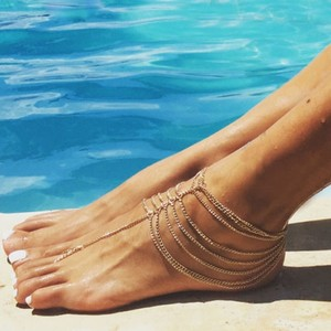 Gold Chain Barefoot Sandals Foot And Ankle Drape Bracelet Jewelry Anklet Bridal Anklet Bridal Foot Jewelry