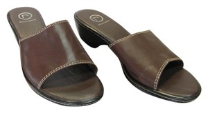 Rockport Leather Size 10.00 Wide Very Good Condition Brown Mules