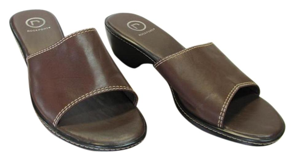 Rockport Condition Brown Leather Very Good Condition Rockport Mules/Slides 777e1e