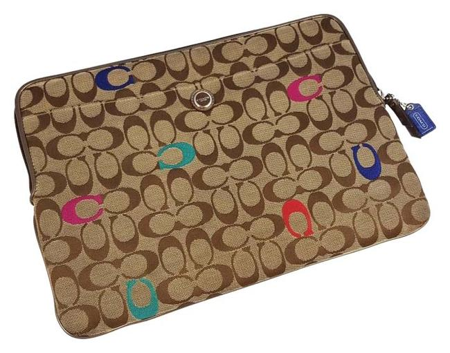 Item - Sleeve Khaki / Pink / Blue / Red / Brown Signature Jacquard & Leather Laptop Bag
