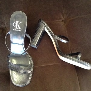 Calvin Klein Leather Snakeskin New Black Sandals