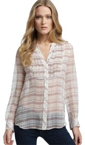 Joie Silk Pleated Top Plaid