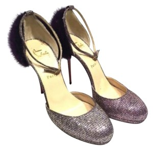 Christian Louboutin Neiman Marcus Slight Platform Glitter Fabric Purple Pumps