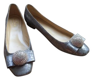 Kate Spade Leather Silver Flats