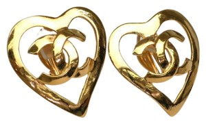 Chanel Chanel Gold CC Logo Heart Charm Earrings Made In France