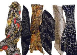 Other Animal Print Cheetah Leopard Giraffe Sheer Thin Scarves LOT OF 6