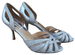 Badgley Mischka Studded Rhinestones Leather Cut Outs Silver Sandals