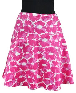 MILLY Floral Cotton Mini Mini Skirt Pink