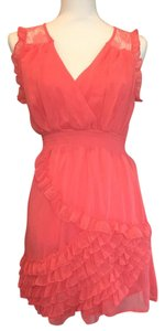 Francesca's short dress Coral Lace Ruffle Spring Summer on Tradesy