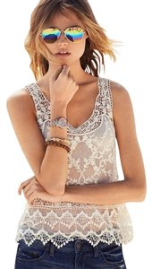 Express Sheer Cream Lace Floral Top White