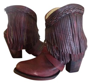 FreeBird By Steven Tonto Leather Fringed Ankle Wine Boots