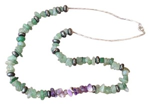 Beautiful Aventurine, Amethyst, Hematite Gemstones Liquid Silver Necklace with Wooden Stand