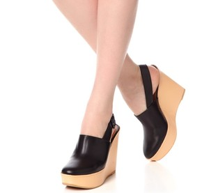 Robert Clergerie Leather Wedge Black Mules