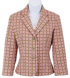 Express Express Pink Brown Woven Cotton Three-button Blazer B114