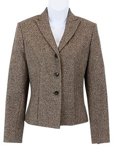 Ann Taylor Ann Taylor Brown Cream Textured Wool Exposed Seam Detail Blazer B114
