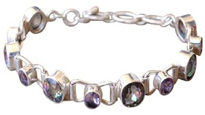 Other Amazing Rainbow Quartz, Amethyst Gemstones Sterling Silver Bracelet