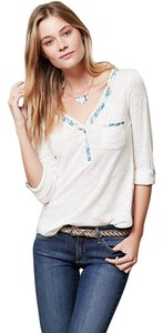 Anthropologie Button Down Floral Blue 3/4 Sleeve Top White