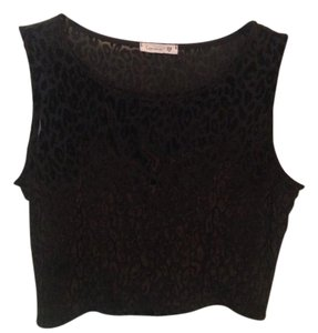 Soprano Leopard Crop Velvet Sleeveless Top Black