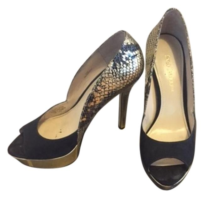 Item - Black and Gold Suede Pumps Size US 6.5