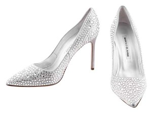 Manolo Blahnik Crystal Pointy Toe Silver Pumps