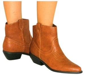 Diva Lounge Vegan Cowboy Western Low Stacked Heel Ankle Cognac Tan Brown Boots