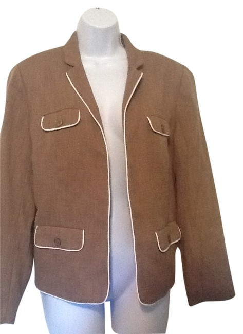 Coldwater Creek Taupe/Cream piping Blazer