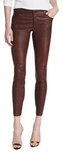 Haute Hippie Leather Zipper Skinny Pants Bourdeaux