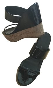Prada Cork Heel Wedge High Heels BLACK Sandals