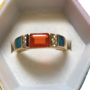14kt sunstone rectangular shaped 3/4-1Ct with fire opal & dia accents think band never worn sz7 clean ring!! 14kt