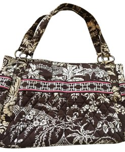 Vera Bradley Pockets Zipper Pink Brown Shoulder Bag