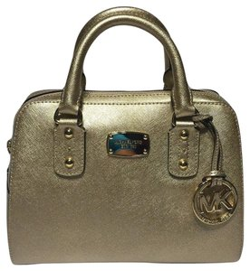 Michael Kors Leather Satchel in Pale Gold