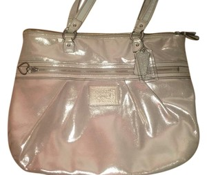Coach Poppy Leather Tote in Metallic Gold with Fuchsia Interior