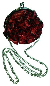 White House | Black Market Silk Roses Evening Designer Black and Red s Clutch