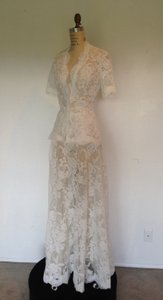 White Lace All Sheer Sexy 2peice Skirt Short Sleeve Modest Wedding Dress Size 8 (M)