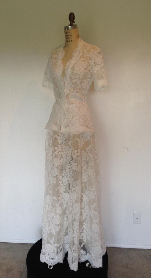 White Lace All Sheer Sexy 2peice Skirt Short Sleeve Modest Wedding Dress Size 8 M 89 Off Retail