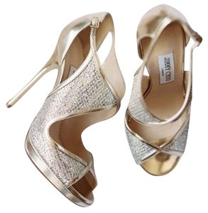 Jimmy Choo Sandal Heels Sandals Wedding Special Occassion Glitter Gold Formal Sexy Fashion Edgy Wedding Bride Bridal Bridesmaid Champagne glitter Pumps