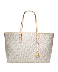Michael Kors Leather Travel Tote in Vanilla