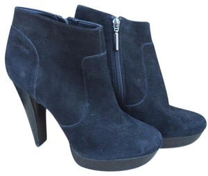 Calvin Klein Suede Charlee Round Toe Stacked Black Boots