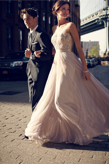 Item - Dusty Pink Lace Bobbinet Tulle Double-faced Satin; Acetate Lining Lucca Maxi Vintage Wedding Dress Size 4 (S)