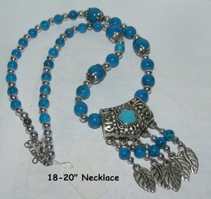 Tribal Blue Turquoise Tibet Silver Necklace Free Shipping