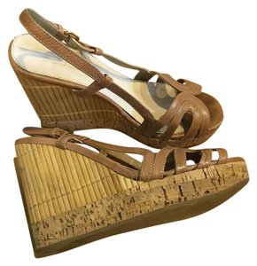Prada Slingback Wedge Sandals Heels neutral/ Nude Wedges