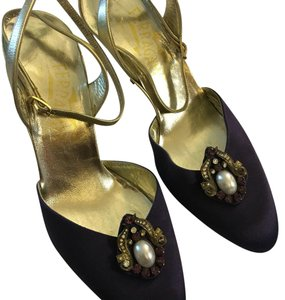 Salvatore Ferragamo Satin Slingback Heels Purple, Gold Formal