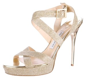 Jimmy Choo Glitter Strap Gold Pumps