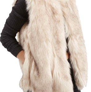 Topshop Light Beige Faux Fur Vest